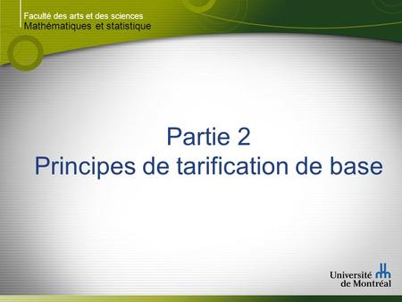 Principes de tarification de base