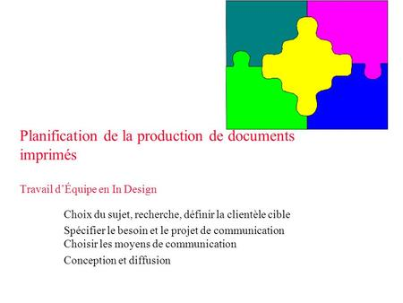 Planification de la production de documents imprimés Travail d'Équipe en In Design Choix du sujet, recherche, définir la clientèle cible Spécifier le besoin.