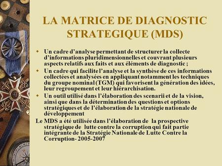 LA MATRICE DE DIAGNOSTIC STRATEGIQUE (MDS)
