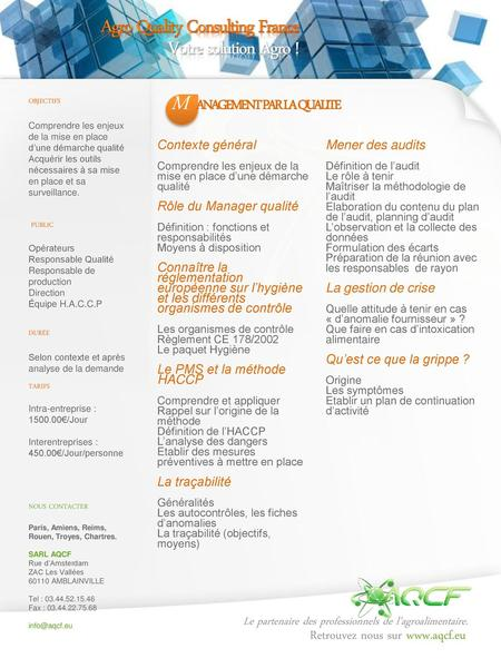 M Agro Quality Consulting France Votre solution Agro !