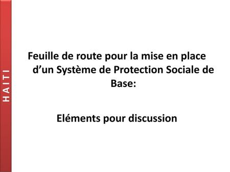 Eléments pour discussion