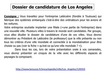 Dossier de candidature de Los Angeles