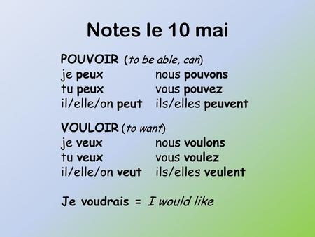 Notes le 10 mai POUVOIR (to be able, can) je peux nous pouvons