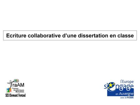 Ecriture collaborative d'une dissertation en classe