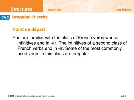 Point de départ You are familiar with the class of French verbs whose infinitives end in -er. The infinitives of a second class of French verbs end.