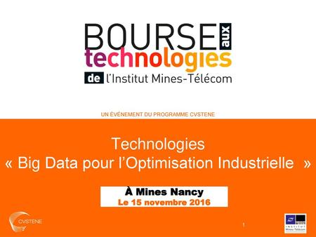 « Big Data pour l'Optimisation Industrielle »