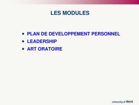 LES MODULES PLAN DE DEVELOPPEMENT PERSONNEL LEADERSHIP ART ORATOIRE.