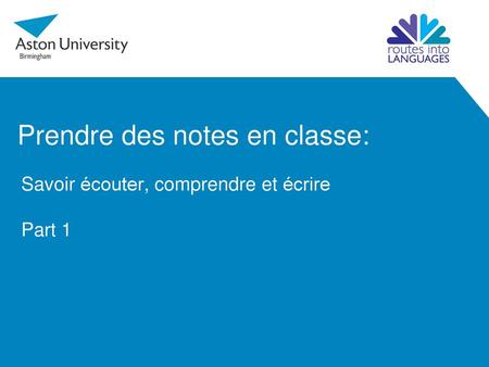 Prendre des notes en classe:
