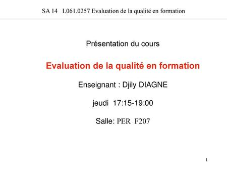 Evaluation de la qualité en formation