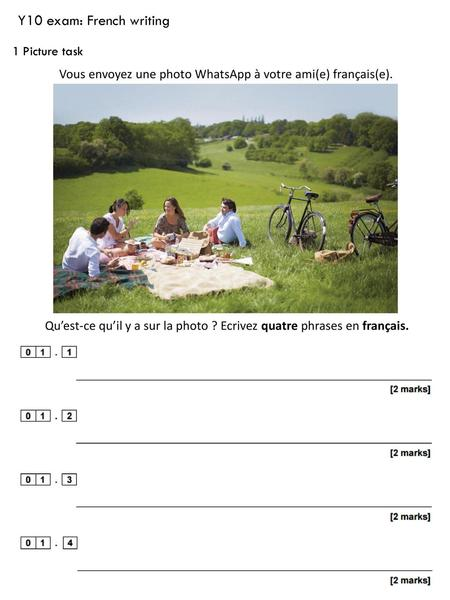 Y10 exam: French writing 1 Picture task