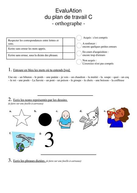 3 EvaluAtion du plan de travail C - orthographe -