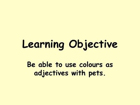 Be able to use colours as adjectives with pets.