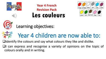 Year 4 French Revision Pack