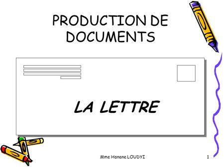 PRODUCTION DE DOCUMENTS Mme Hanane LOUDYI1 LA LETTRE.