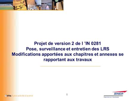 Projet de version 2 de l 'IN 0281
