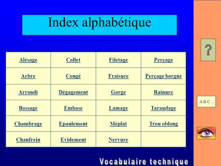 Index alphabétique Alésage Collet Filetage Perçage Arbre Congé