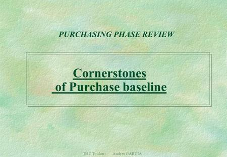 ESC Toulon - Andres GARCIA PURCHASING PHASE REVIEW Cornerstones of Purchase baseline.