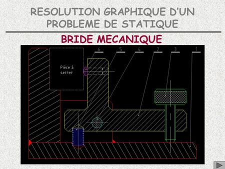 RESOLUTION GRAPHIQUE D'UN PROBLEME DE STATIQUE BRIDE MECANIQUE.