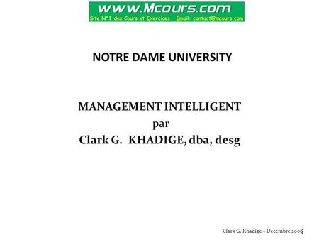 MANAGEMENT INTELLIGENT par Clark G. KHADIGE, dba, desg