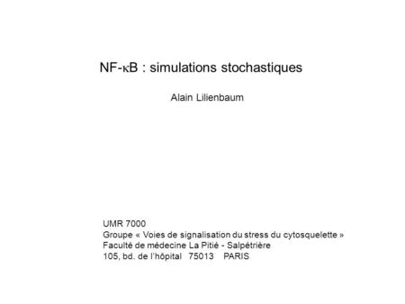 NF-kB : simulations stochastiques