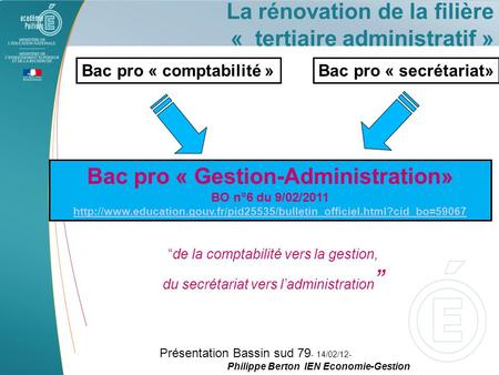 Bac pro « Gestion-Administration»