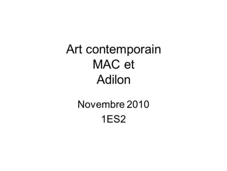 Art contemporain MAC et Adilon Novembre 2010 1ES2.