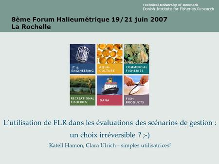 Technical University of Denmark Danish Institute for Fisheries Research 8ème Forum Halieumétrique 19/21 juin 2007 La Rochelle L'utilisation de FLR dans.