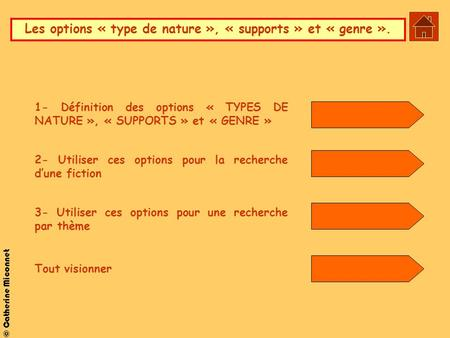 © Catherine Miconnet Les options « type de nature », « supports » et « genre ». 1- Définition des options « TYPES DE NATURE », « SUPPORTS » et « GENRE.