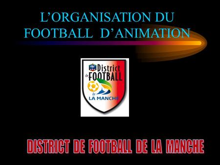 L'ORGANISATION DU FOOTBALL D'ANIMATION QUELQUES CHIFFRES… SAISON 2010/2011 – DISTRICT DE FOOTBALL DE LA MANCHE.