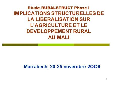 1 Etude RURALSTRUCT Phase I IMPLICATIONS STRUCTURELLES DE LA LIBERALISATION SUR L'AGRICULTURE ET LE DEVELOPPEMENT RURAL AU MALI Marrakech, 20-25 novembre.