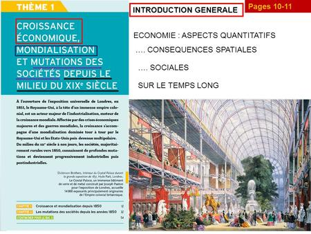 Pages 10-11 INTRODUCTION GENERALE ECONOMIE : ASPECTS QUANTITATIFS