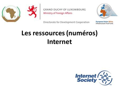 Les ressources (numéros) Internet 1. Internet IPv4 addresses IPv6 addresses Autonomous System number Fully Qualified Domain Name Ressources clés de l'Internet.