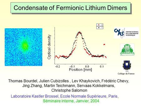 Condensate of Fermionic Lithium Dimers