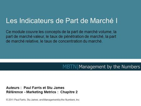 Les Indicateurs de Part de Marché I