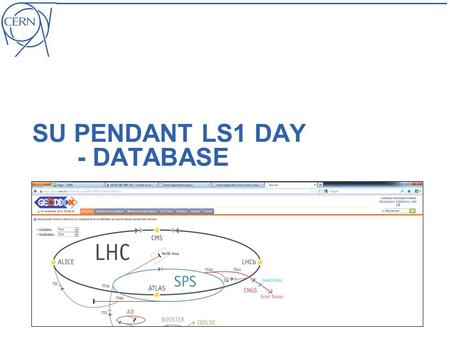 SU PENDANT LS1 DAY - DATABASE. Christophe Podevin| SU pendant LS1 day| 07.11.2012| EDMS XXXXXXX | page 2 Equipe Christophe (50% sur Forms, data et coordination.