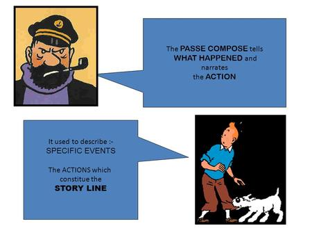 The PASSE COMPOSE tells WHAT HAPPENED and narrates the ACTION It used to describe :- SPECIFIC EVENTS The ACTIONS which constitue the STORY LINE.