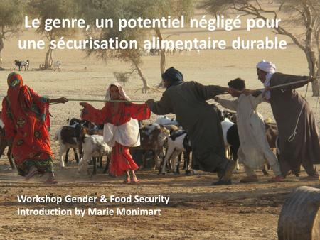 Workshop Gender & Food Security Introduction by Marie Monimart Le genre, un potentiel négligé pour une sécurisation alimentaire durable.