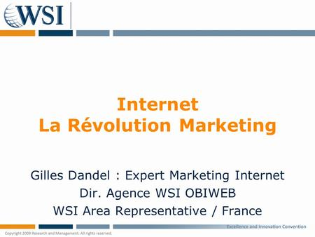 Internet La Révolution Marketing Gilles Dandel : Expert Marketing Internet Dir. Agence WSI OBIWEB WSI Area Representative / France.