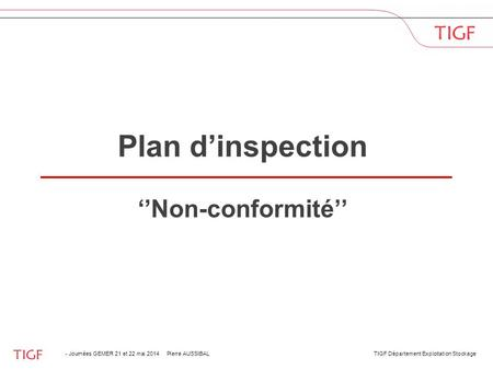Plan d'inspection ''Non-conformité''