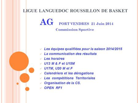 LIGUE LANGUEDOC ROUSSILLON DE BASKET