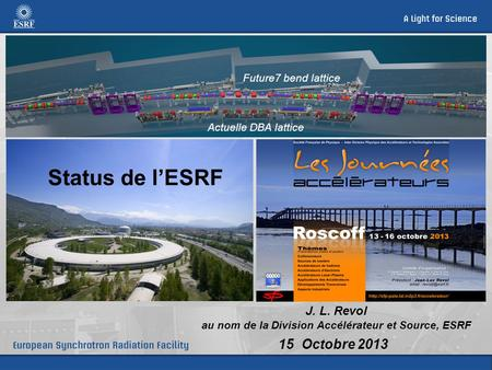 J. L. Revol au nom de la Division Accélérateur et Source, ESRF 15 Octobre 2013 Actuelle DBA lattice Future7 bend lattice Status de l'ESRF.