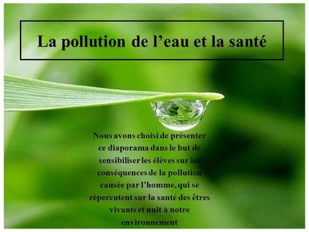 la pollution de l 39 eau introduction ppt video online t l charger. Black Bedroom Furniture Sets. Home Design Ideas