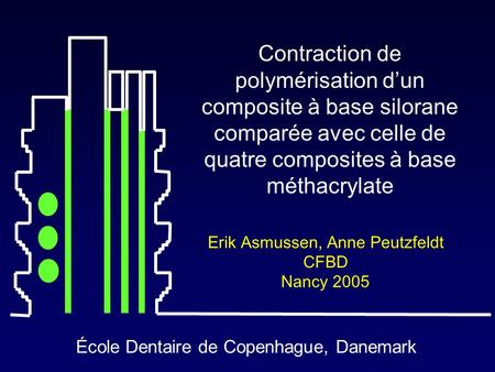 École Dentaire de Copenhague, Danemark Contraction de polymérisation d'un composite à base silorane comparée avec celle de quatre composites à base méthacrylate.
