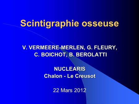 Scintigraphie osseuse