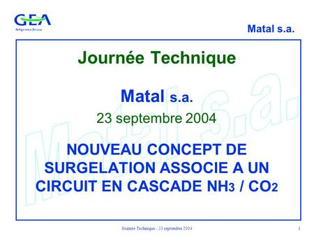 Journée Technique - 23 septembre 2004