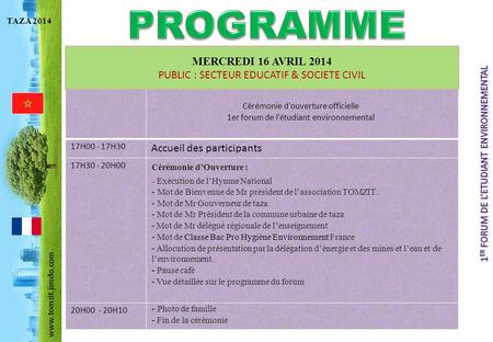 PROGRAMME MERCREDI 16 AVRIL 2014