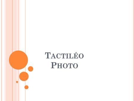 T ACTILÉO P HOTO. D ESCRIPTION RAPIDE L'application Tactiléo Photo est une interface facilitant le rangement d'un groupe de photos Elle permet d'organiser.