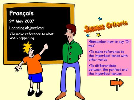 "Français 9 th May 2007 Learning objectives  To make reference to what WAS happening  Remember how to say ""It was""  To make reference to the imperfect."