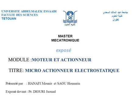 TITRE: MICRO ACTIONNEUR ELECTROSTATIQUE
