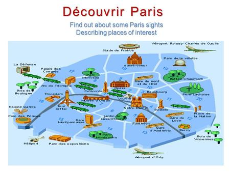 Découvrir Paris Find out about some Paris sights Describing places of interest.